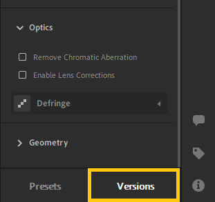 Versions in the Edit panel