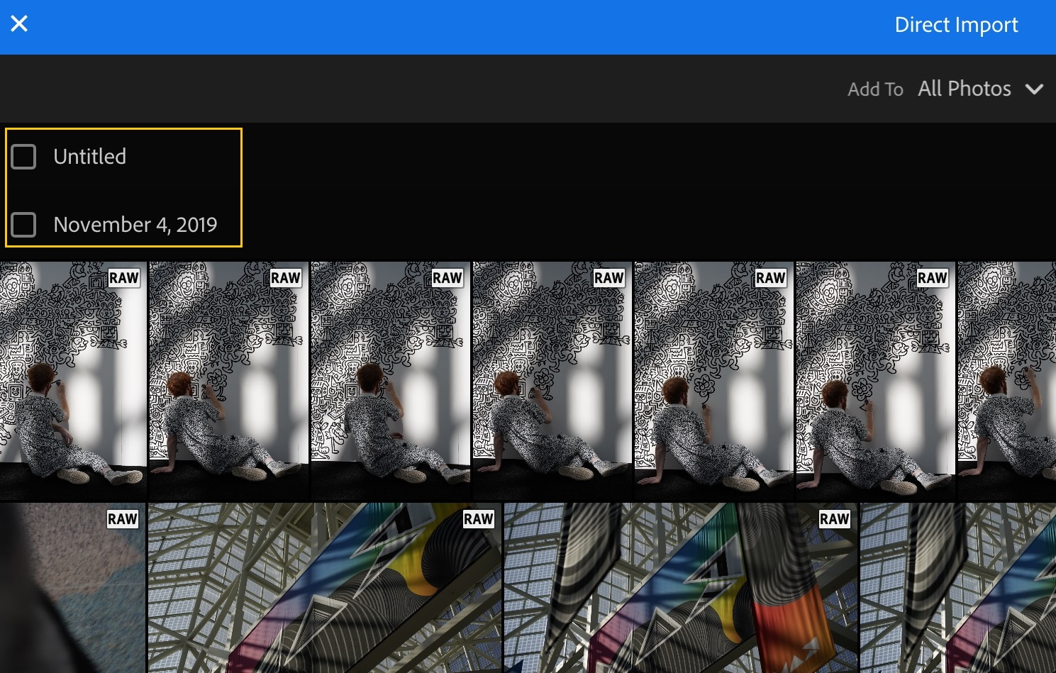 Directly import photos of your choice to Lightroom.