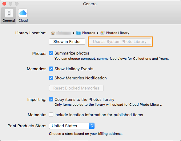 Migrate Apple Photos Library. Select Use as System Photo Library.