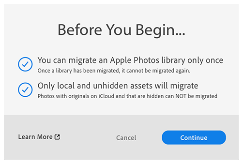 Migration behavior of Apple Photos Library to Lightroom
