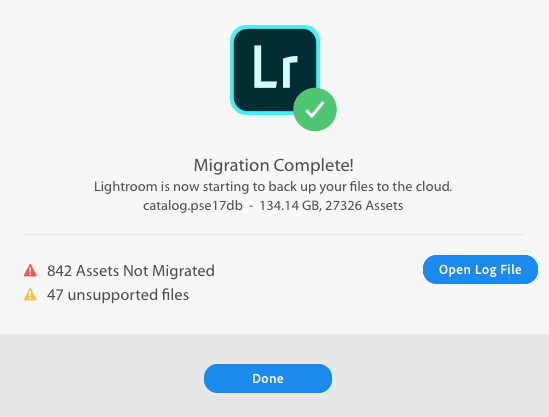 Catalog migration completed with exceptions.