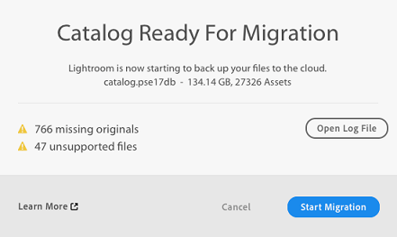 Catalog ready for migration