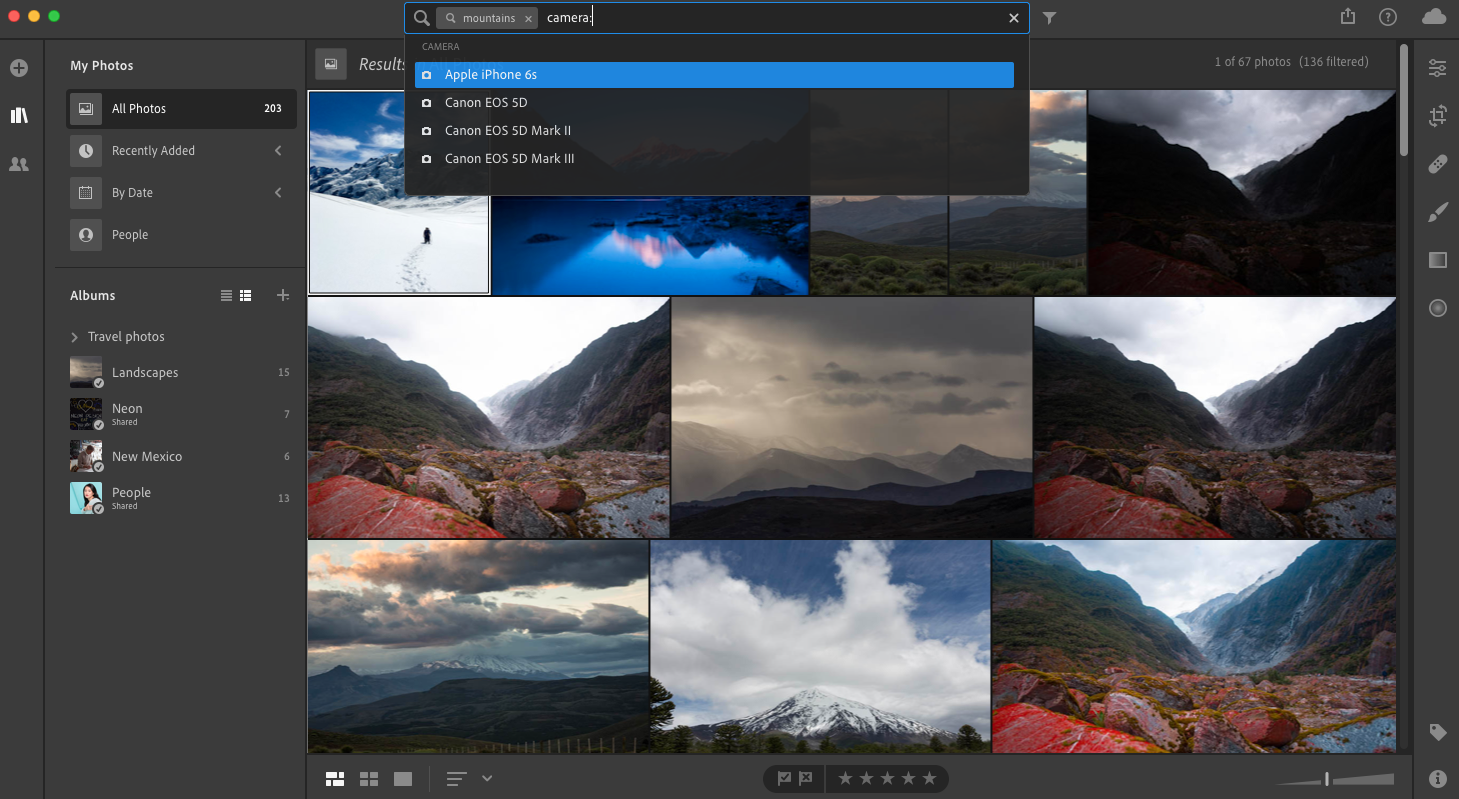 Search photos using object names or facets