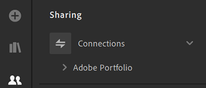 Adobe Portfolio is visible in the Sharing panel as a connection