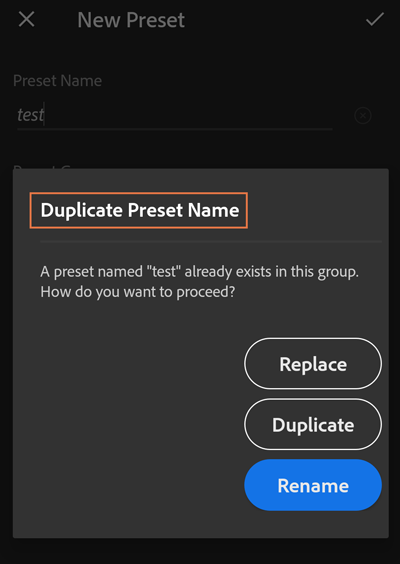 On creating a preset with a name that already exists, choose to Replace, Duplicate, or Rename the preset