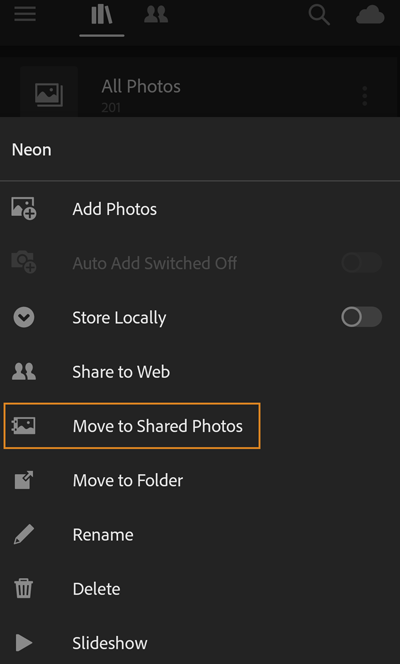 Move a shared album to Photos Shared to Web container