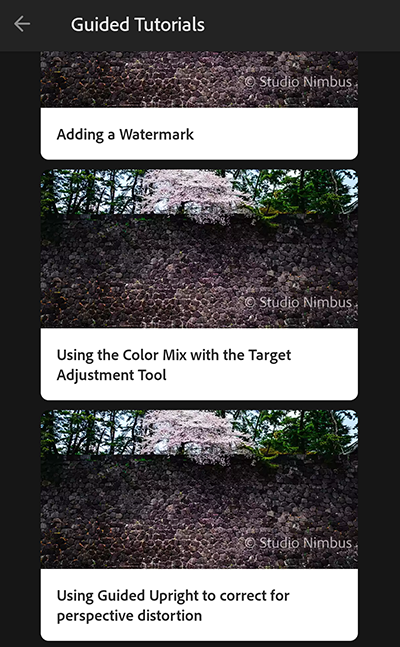 Guided tutorials for Lightroom CC mobile (Android)