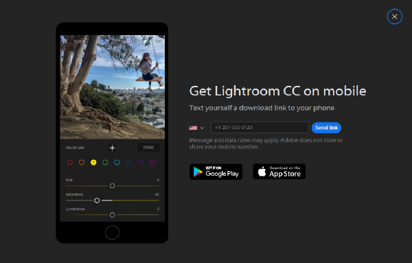 Send Lightroom CC mobile download link to your phone
