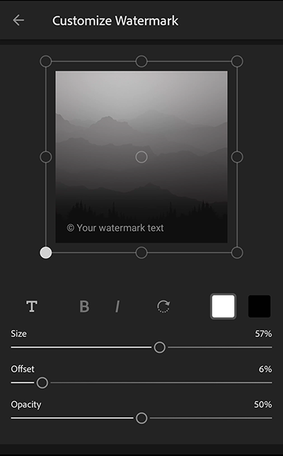 Customize watermark