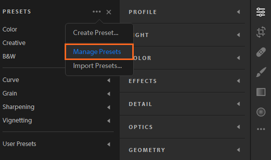 Manage Presets