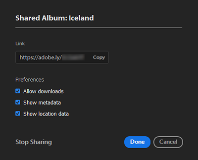 New sharing preferences