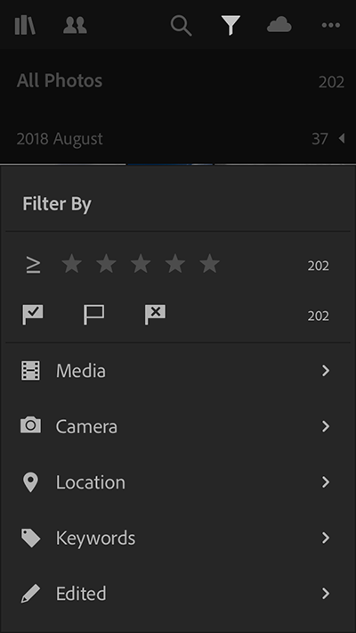Updated filter menu