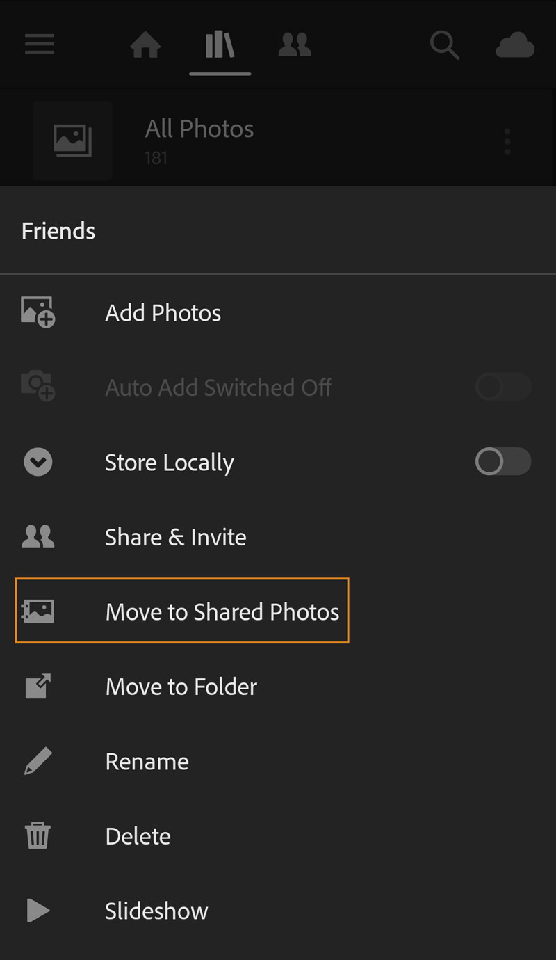 Move to Shared Photos and other options in Albums view