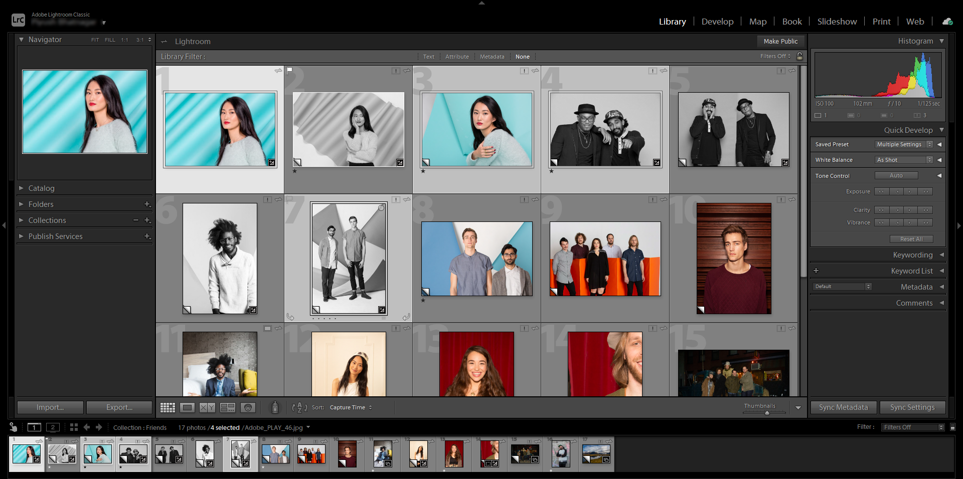 Lightroom Classic Active vs. selected photos