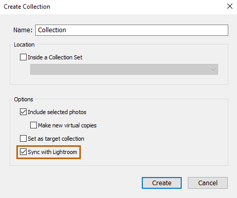 Sync with Lightroom option in Create Collection dialog