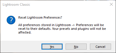 Restore Lightroom Classic preferences dialog