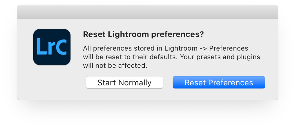 Reset Lightroom Classic preferences dialog