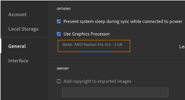 Lightroom GPU preference