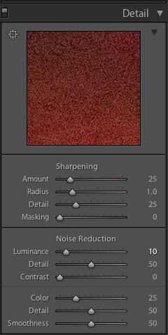 Lightroom Classic CC Detail panel of the Develop module