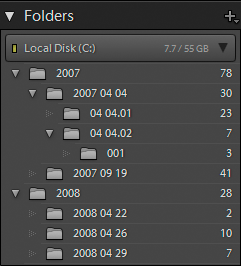 Folders panel in Lightroom Classic CC
