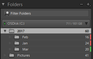 Folders with a color label in the Folders panel