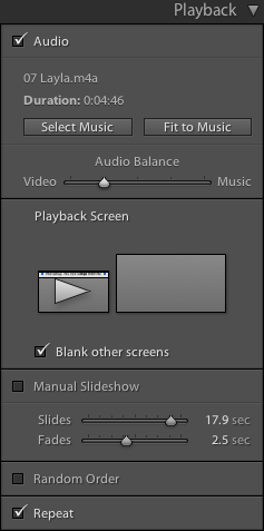Lightroom Classic CC Slideshow module Playback panel
