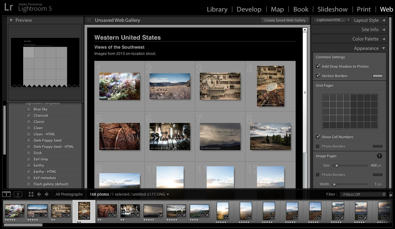 Lightroom Classic CC customized web gallery