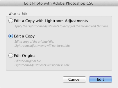 Lightroom Classic CC Edit In options
