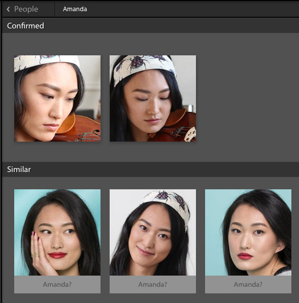 Lightroom Classic suggests names for similar photos