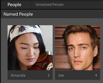 Lightroom Classic CC named people area