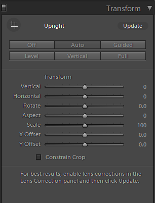 Transform panel in Lightroom Classic CC