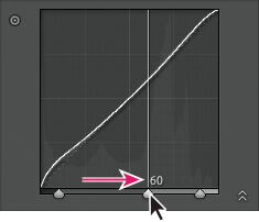 Lightroom Classic CC Drag a split control slider to the right to expand that tonal region