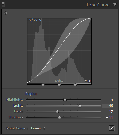 Lightroom Classic CC Develop module Tone Curve panel