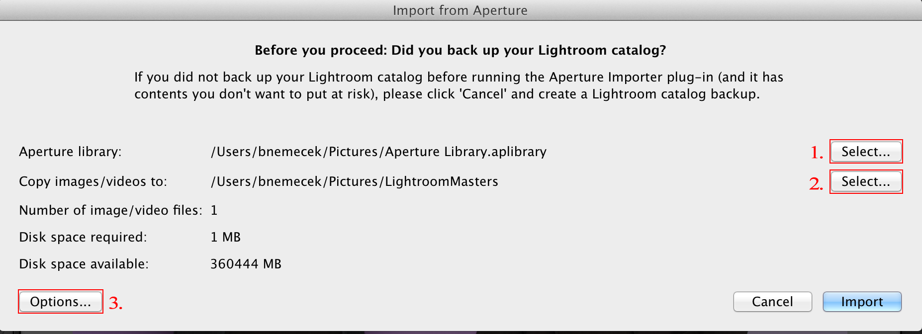 Lightroom Classic CC Import from Aperture option