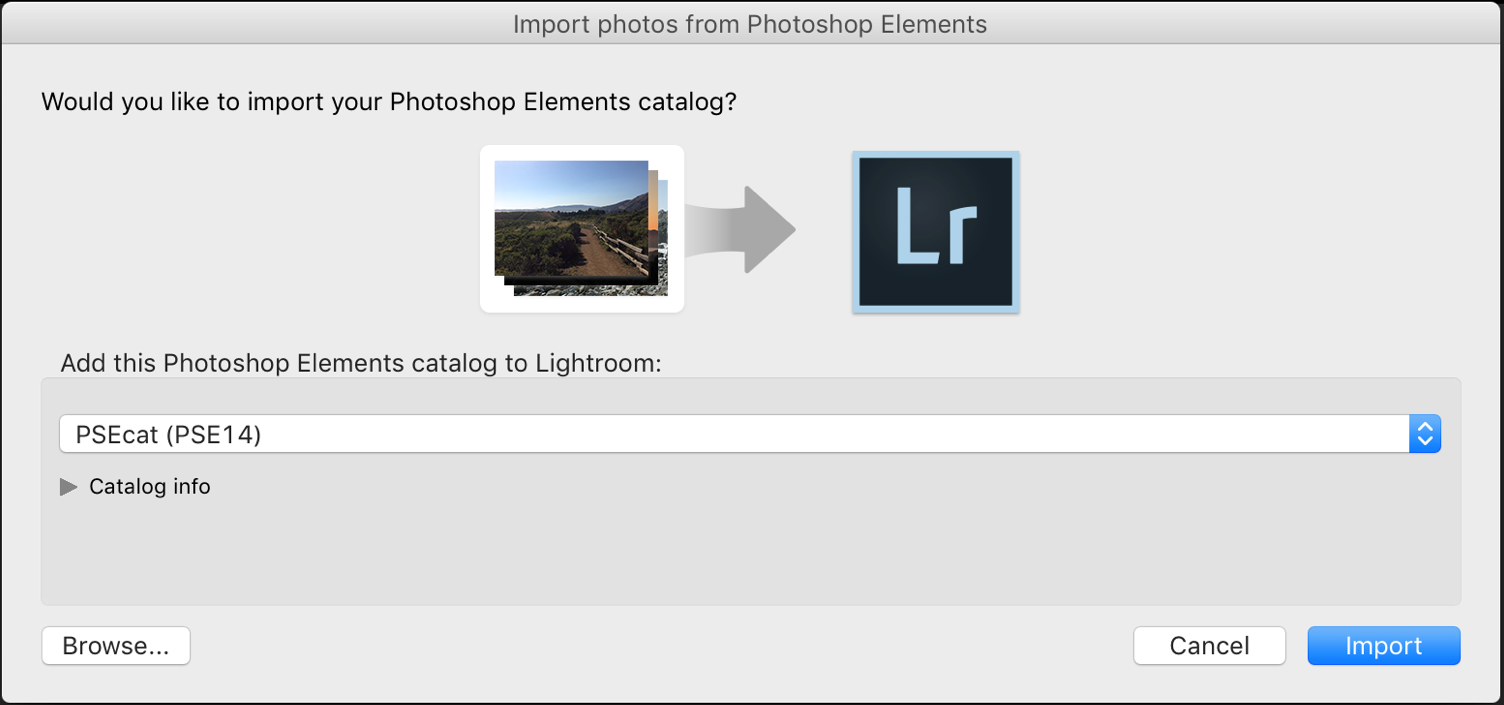 Lightroom Classic CC Update Photoshop Elements Catalog dialog