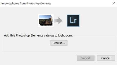 Lightroom Classic CC Import Photoshop Elements Catalog dialog