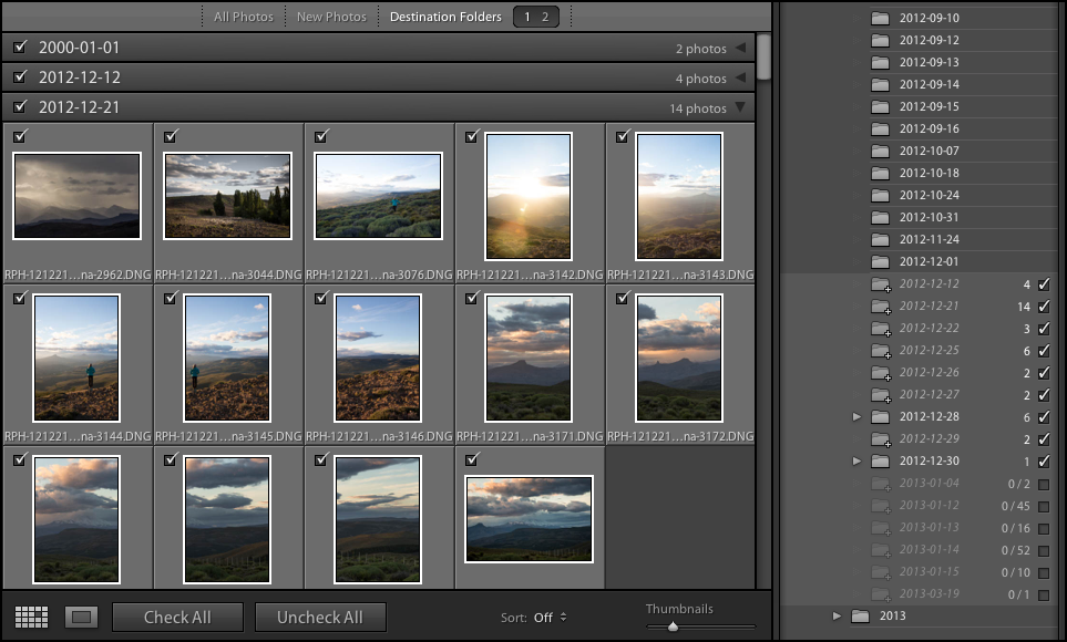 Filter photos in the preview area by Destination folders in Lightroom Classic CC