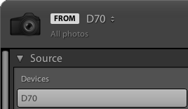 The Lightroom Classic CC Source panel with a camera selected.