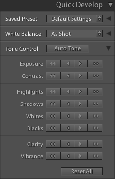 Lightroom Classic CC The Library module Quick Develop panel