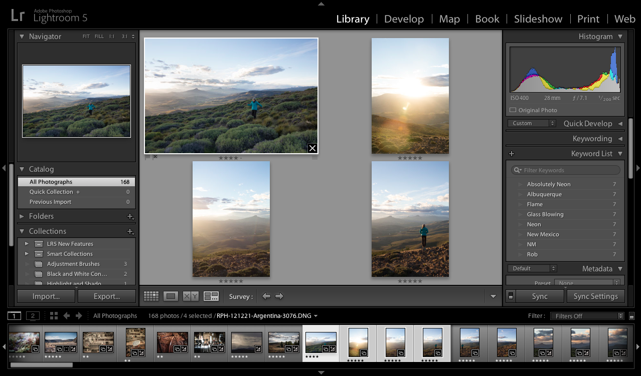 Lightroom Classic CC Survey view in the Library module