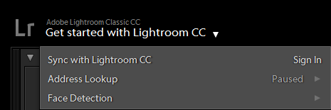 Lightroom Classic CC Activity Center