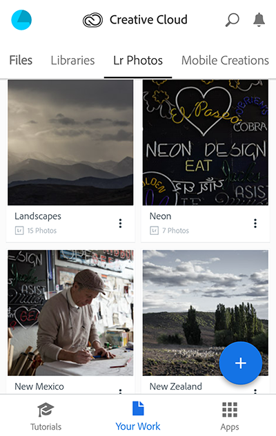 Choose My Assets in the Creative Cloud mobile app