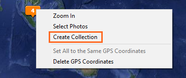 Create collection from a photo pin on the map