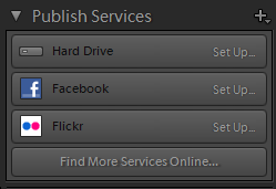 Lightroom Classic CC Publish Services panel