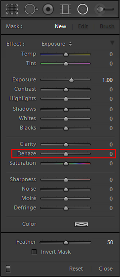 Lightroom Classic CC Dehaze as a local adjustment