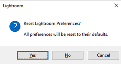 Restore Lightroom Classic CC preferences dialog