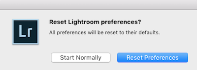Reset Lightroom Classic CC preferences dialog