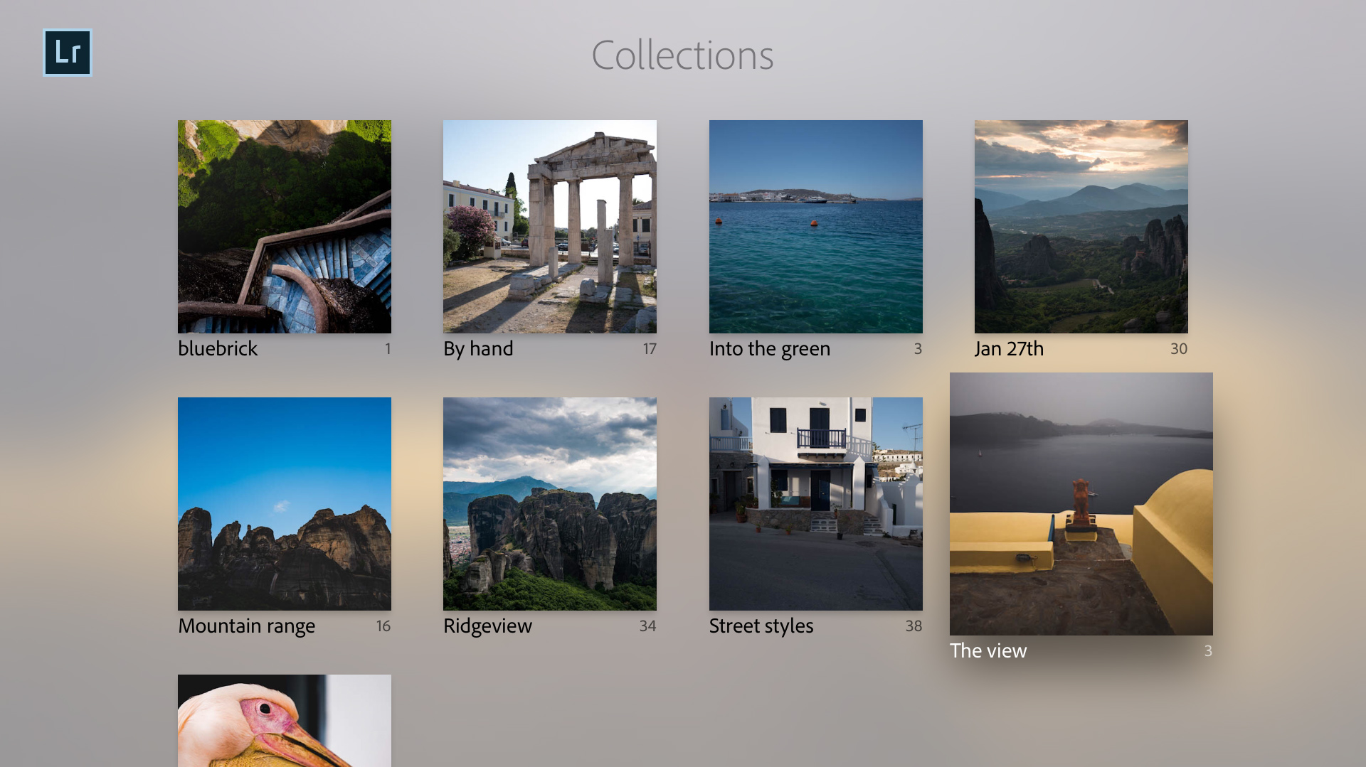 Lightroom Classic CC collections displayed on your TV
