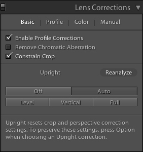 Lightroom Classic CC Basic tab in the Lens Corrections panel