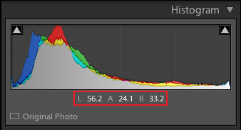 Lightroom lab color values readout